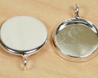 50 ct Silver Plated over Brass or Antique Tones 12mm Earring Recessed Pendants/Charm Drops -DIY - Charms - Optional Glass and Seals.