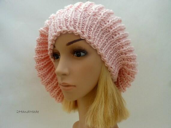 Chunky Knit hat Oversized Beret Slouchy Rasta Tam Merino Wool beanie Pink Pom Pom Womens  Adult Teens