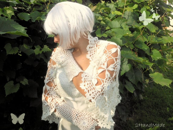 Ivory Wedding Bridal Jacket Bolero Shrug Women Bridesmaid Kid Mohair  Feminine Fashion Handmade Lace Crochet Vintage Style M-XL