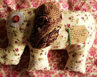 Meet India. The Boho Large Toy Elephant, Childrens cushion, Elephants Pillow, Elephant Soft Toy, Home Decor, Animal Cushion