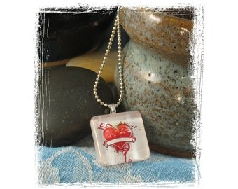 Necklace - Grunge Heart Glass Tile