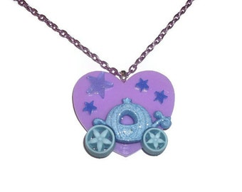 Cinderella Carriage Necklace, Kawaii Lilac Heart Purple Chain Necklace