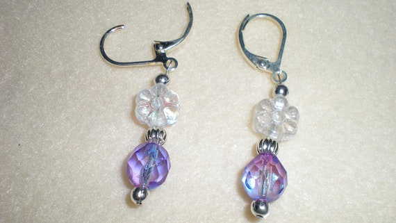 Faceted Purple & Blue AB Finish With Crystal AB Finish Flower Bead Removable Stitch Markers