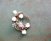 Art Nouveau pin mother of pearl brooch with flowers rhinestones fashion mid century gift for Her