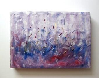 Mixed Media Painting Abstract Art Acrylic Pearl Ink Thread Sewn Handmade