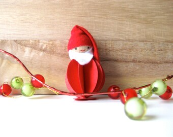 Elf Christmas Ornament Decoration with Red Suit Holiday Home Decor Vintage