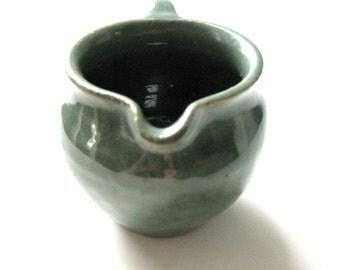 Vintage Pottery Ohio Creamer in Green Pottery Handmade Pottery Deep Teal Green Glaze Coffee