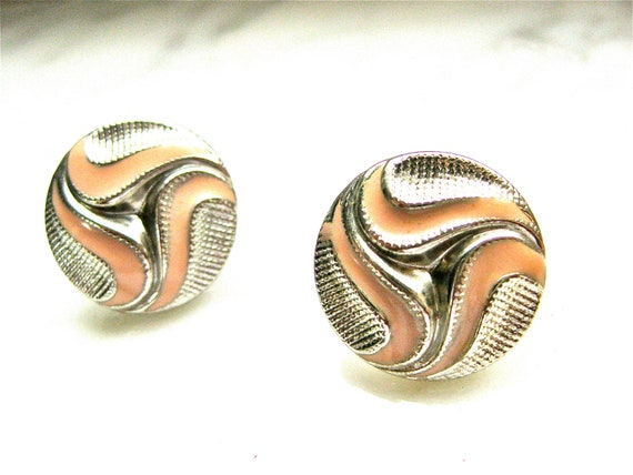 1980s Peach Earrings Silver Earrings Clip On Round Costume Jewelry Detailed Fashion Accessory