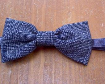 Plaid, grey black little boys  bow tie