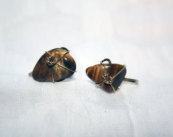 Brown Stone Earrings Vintage Knotted Screw Backs