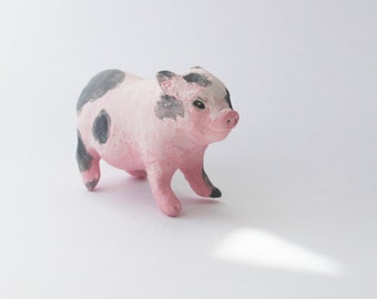 Baby Pig Miniature Potbelly Piglet Porcelain Sculpture
