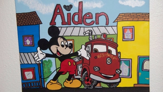 Custom Commission 16x20 Acrylic Mickey Mouse Painting For Childs Room Art Handpainted