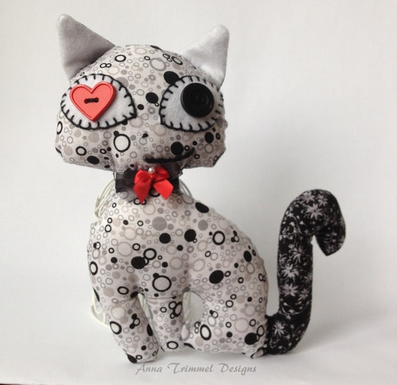 Stuffed Cat Toy Plushie handmade in Black and White fabric