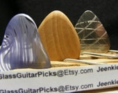 Guitar pick set of 3 different picks, set includes a Glass guitar pick, Wood guitar pick, and Stainless steal guitar pick,violet