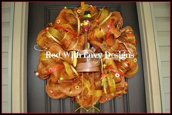 Thanksgiving Wreath, Thanksgiving, Thanksgiving Decoration, Thanksgiving Decor, Turkey, Turkey Wreath, Wreath, Deco Mesh Wreath, Fall