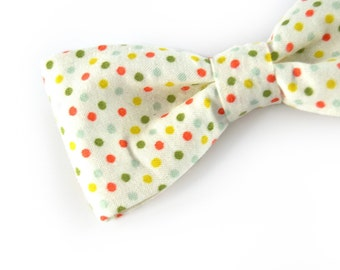 Men Wedding Kids Clip-On Bow Tie - red green yellow dots bowtie - Baby, toddler boys tie