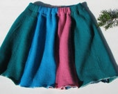 Upcycled Cashmere Girls Skirt - Blues - Size 3 / 4 T