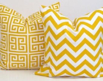 YELLOW PILLOW SET.20x20 inch.Pillow Covers Decorative Pillows.Housewares.Yellow Outdoor Pillows.Outdoor Cushion.51 cm.Yellow Chevron Cushion