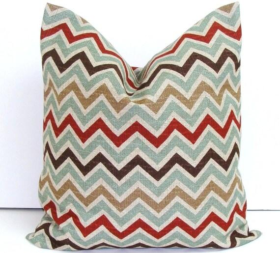TEAL CHEVRON PILLOW.20x20 inch.Pillow Cover.Decorative Pillows.Teal.Brown Chevron.Pillow.ZigZag.Housewares.Home Decor.Cushion.Cm.Zig Zag.Cm