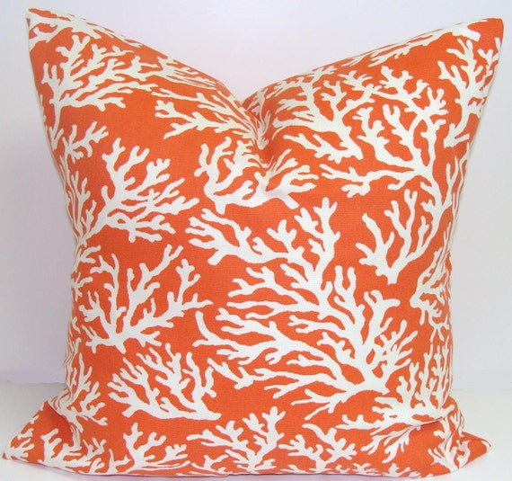 ORANGE PILLOW.18x18 inch.Greek Key.Decorative Pillow Cover.Printed Fabric Front and Back.Nautical.Sea.Beach.Indoor.Outdoor