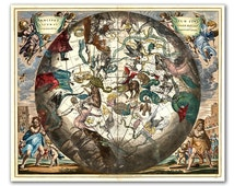 Celestial Zodiac Map from year 1660, intage celestial map printed on parchment paper, Nursery art, Nursery room decor. Buy 3 and get 1 FREE