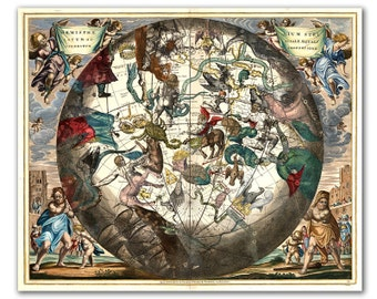 "13x16"" Celestial Zodiac Map from year 1660, vintage celestial map printed on parchment paper, Nursery art, Nursery room decor. 33x40 cm"