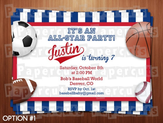 all star sports theme birthday party invitation red blue