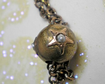 Vintage Long Watch Chain and Slide with Star and Pearl   Item No: 15394