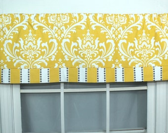 Damask straight banded valance in gold