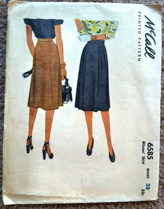 1940's McCall Skirt Pattern - Waist 28 - no. 6585