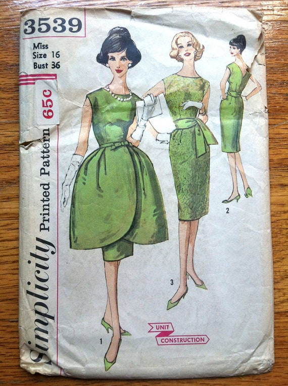"1960's Simplicity Wiggle Dress with Tulip Overskirt Pattern - Bust 36"" - No. 3539"