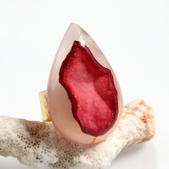 Ruby Red Druzy Ring - Giant Drusy Scarlet Chalcedony Agate Large Ring Cranberry