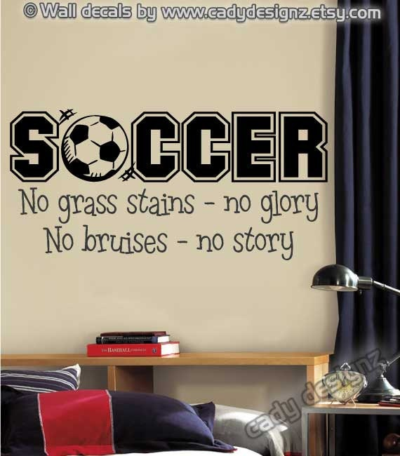 Soccer sports vinyl wall decal boys room decor by for Room decor ideas quotes