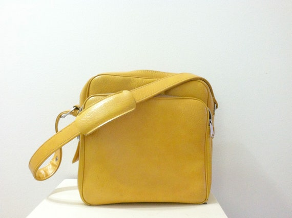Mustard Yellow Carry On Luggage Bag 1960's