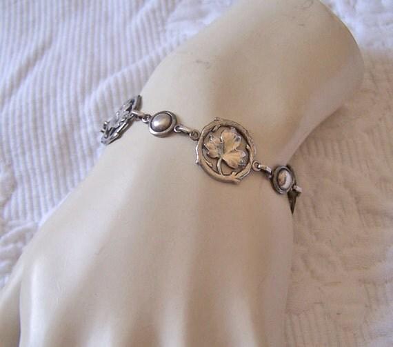 Antique Art Deco Sterling Maple Leaf Link Bracelet