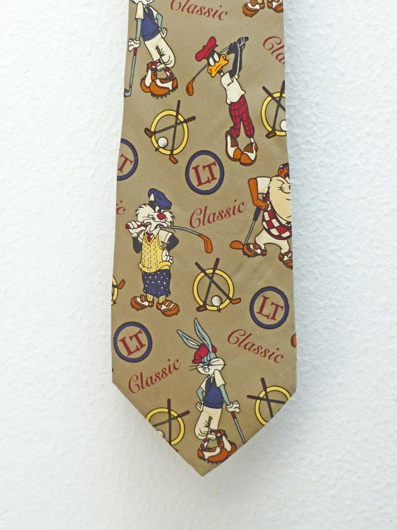 Classic Golf Looney Tunes Men's Silk Tie by Warner Brothers