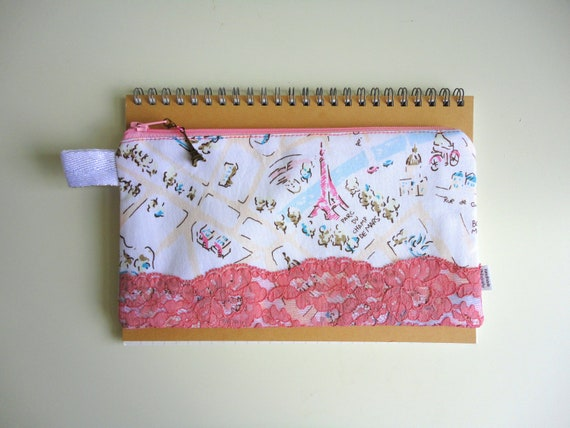 Paris Map Pencil Case with Lace and Eiffel Tower Zipper Pull