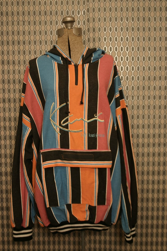 classic 1990s karl kani multi colored striped hood pullover. Black Bedroom Furniture Sets. Home Design Ideas