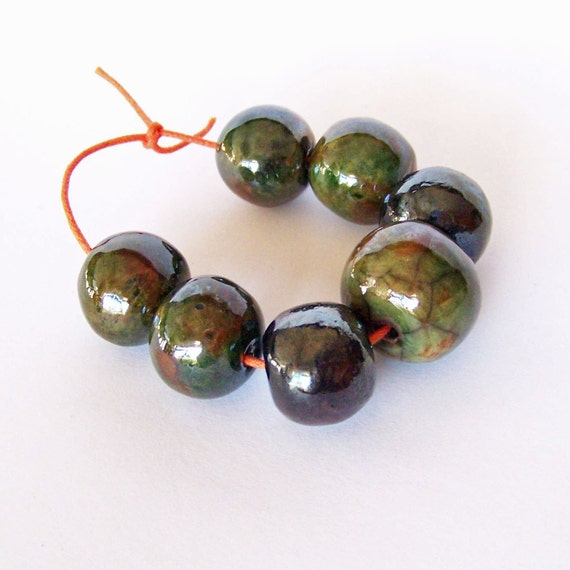 Raku beads, bead set, handmade beads, made in South Africa