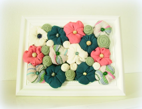 Framed art home decor fabric flower shabby chic 3D design blue pink green white - OOAK spring bouquet - ready to ship