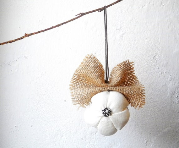 Country Christmas tree decoration  Rustic home ornament  White Brown Ready to ship
