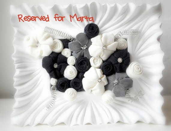 Reserved for Marta - Fabric flower art table frame - Black and white - ready to ship