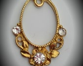 Gold Plated Oval Pendant With Clear Crystals