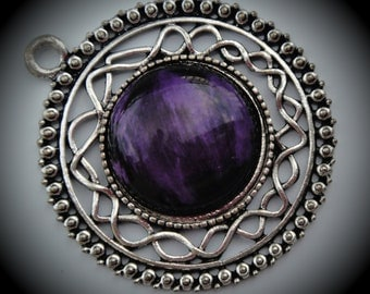 Round Silver Plated Pendant With Purple Cabochon