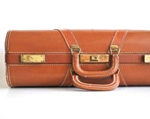 Vintage Suitcase Rusty Brown Dual Handle