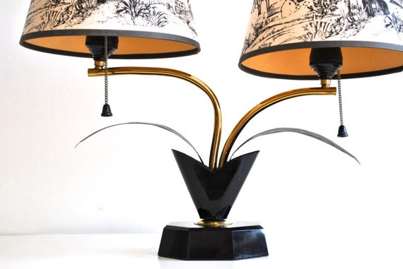 Black Mid Century Lamp - Gold and Tan