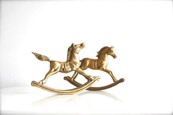 Two Brass Rocking Horses