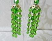 Vintage Clip On  Earrings in Green Crystal Tassels