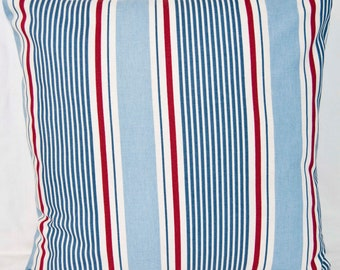 Nautical Cushion Cover - Coastal throw pillow cover - Red White Blue Stripes Size 40cm  - Made in the UK