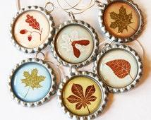 Leaf Wine Charms, Leaf charms, Wine Glass Charms, Wine Charms, Bottlecap wine charm, Leaves, Autumn Leaves